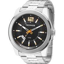 Relógio Technos Masculino Prata Preto Laranja 2115KSV/1L