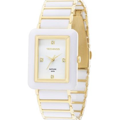 fa7e02ba192 Relógio Technos Safira Feminino Quadrado Dourado Branco 2036LNF 4B ...